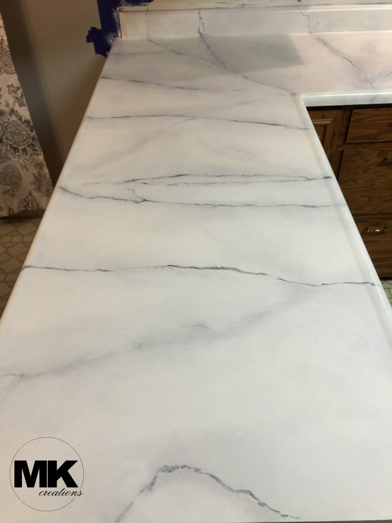 Faux Carrara Marble Finished Countertops