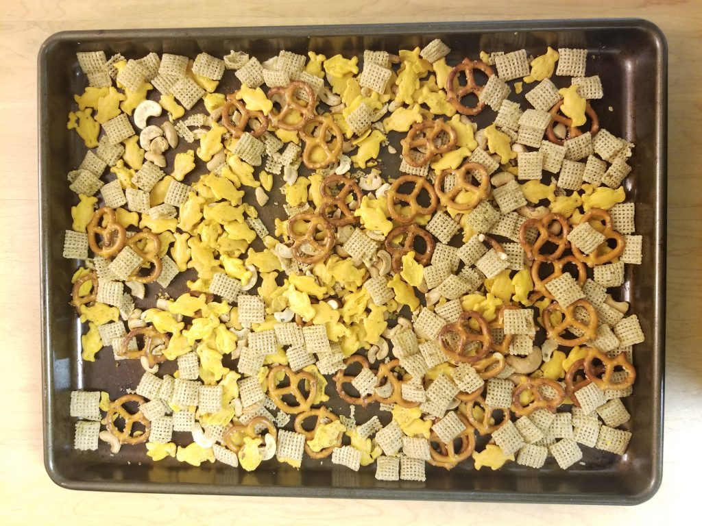 Ranch Chex Mix Spread onto Cookie Sheet