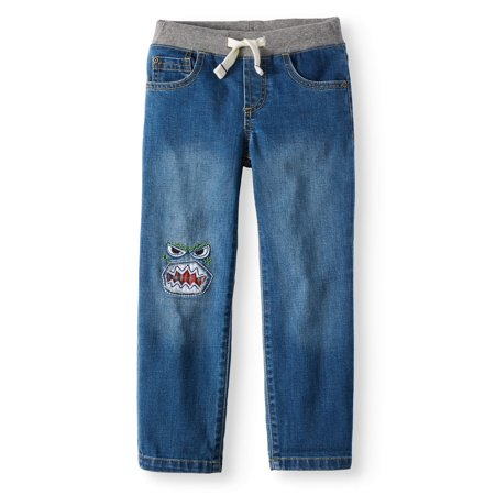 Back to School Clothes - Dark Wash Jean with Monster Patch
