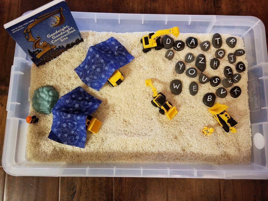 Construction Truck Sensory Bin with Rocks 2