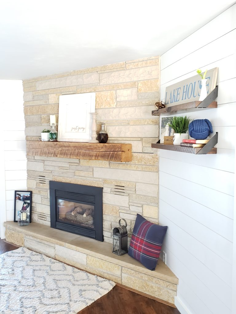 Fireplace and shelf decor