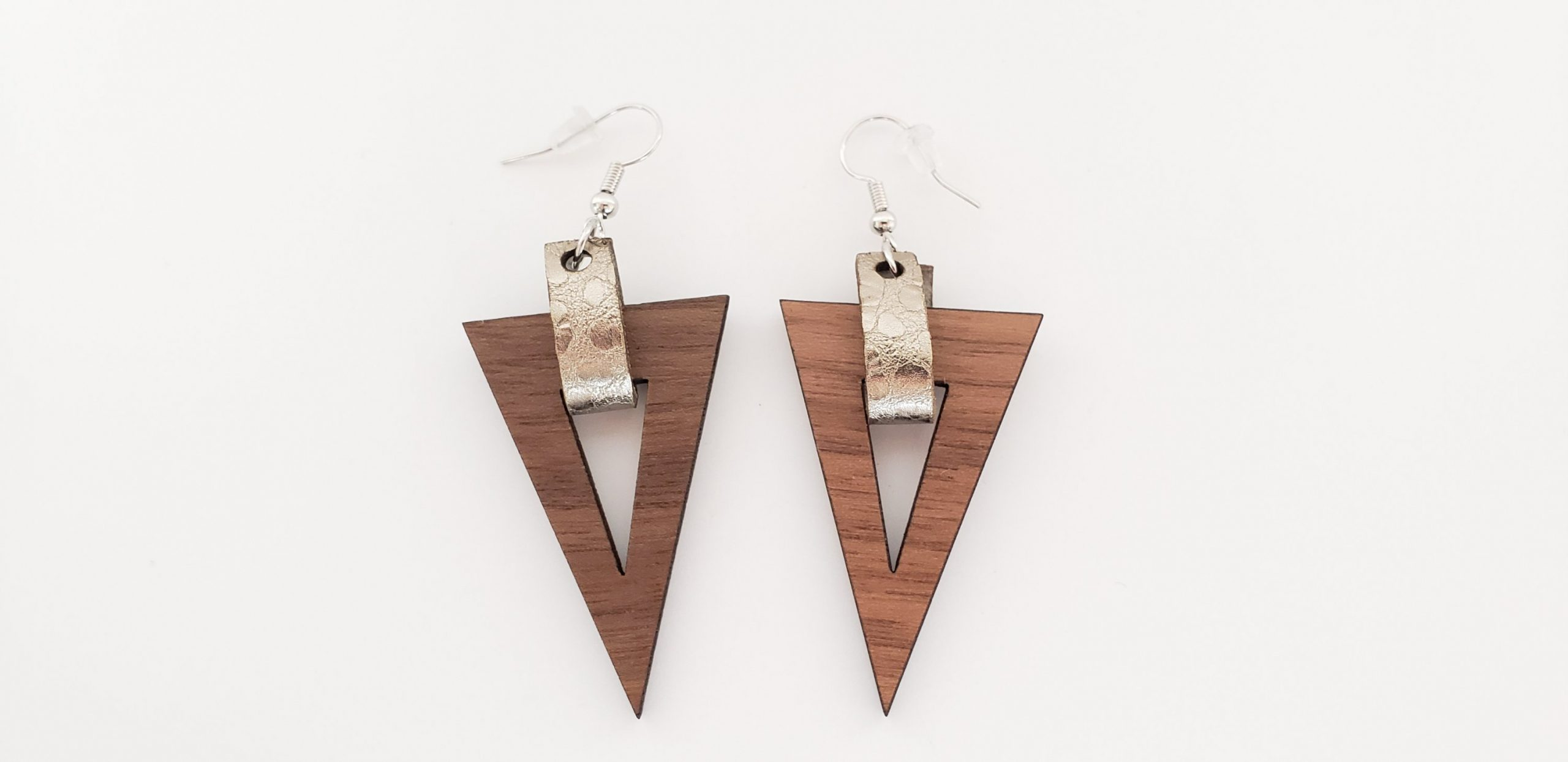Blog update - triangle Wood Earring