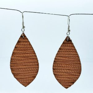 Peach color Braided Leather Earrings